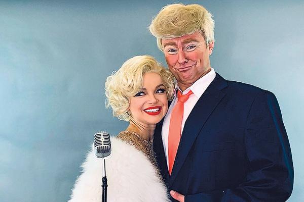 Пара обожает эксперименты. На фото – в образах Мэрилин Монро и Дональда Трампа