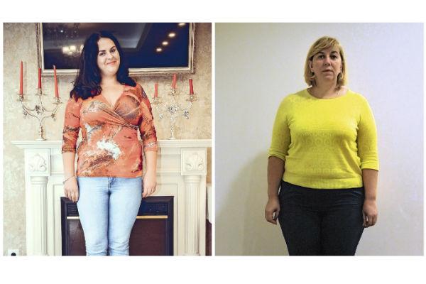 Слева: Софья Давудова. Цель:-20 кг. Справа: Ирина Иванюк. Цель: -32 кг