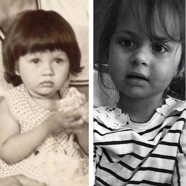 Виктория Боня в детстве (слева), ее дочь Анджелина-Летиция (справа).