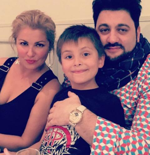 Анна Нетребко с сыном и супругом Юсифом Эйвазовым