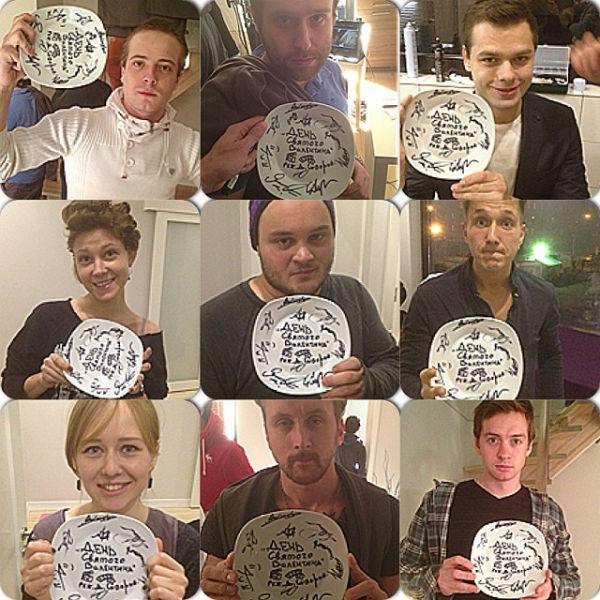 Тарелка с подписями съемочной группы, которую разбивают в первый день работы над фильмом