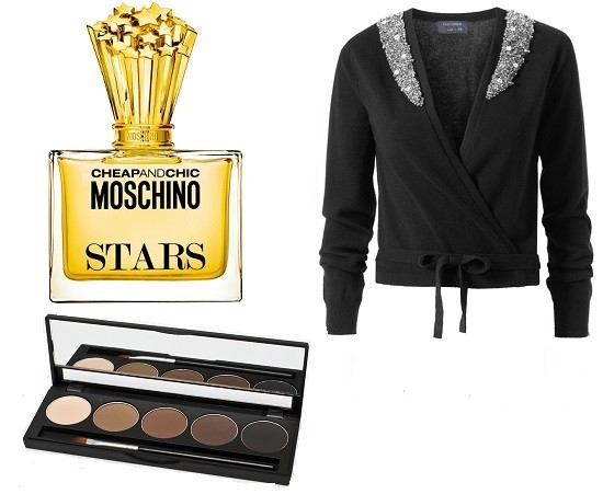 Духи Moschino Cheap and Chic Stars, Кардиган Falconeri, MAKE UP SECRET Палитра теней для бровей