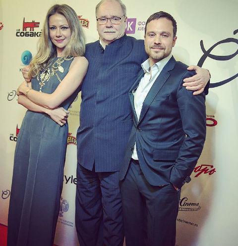 Мария Миронова,Владимир Бортко и Алексей Чадов на премьере фильма«О любви»
