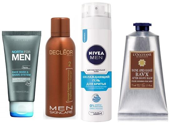 Средство для бритья и умывания Oriflame North for men, Гель-мусс DECLEOR Men Skincare, Охлаждающий гель для бритья NIVEA Men,Бальзам после бритья L'OCCITANE BAVX
