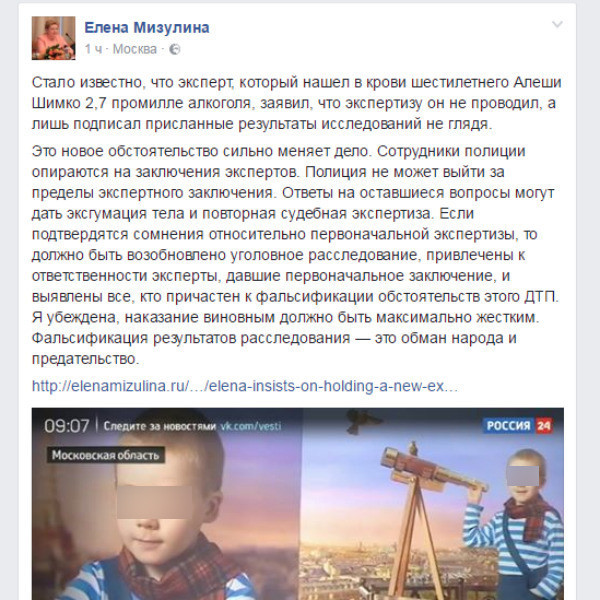 Елена Мизулина следит за ситуацией