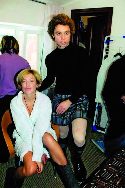 На съемках дебютного фильма «Прощайте, доктор Фрейд» с актрисой Ириной Гриневой