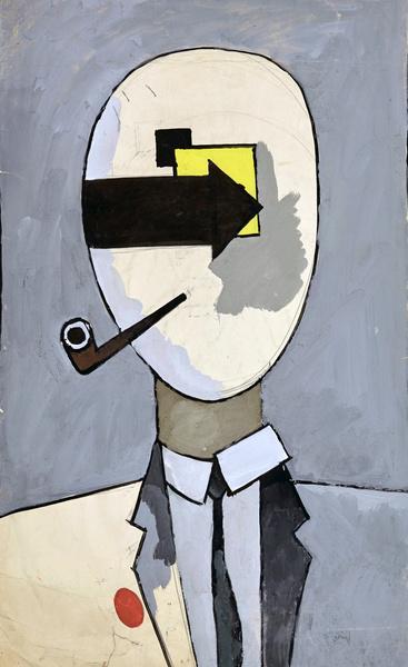 «Человек с трубкой». 100х63 см. Бумага, тушь. 1982