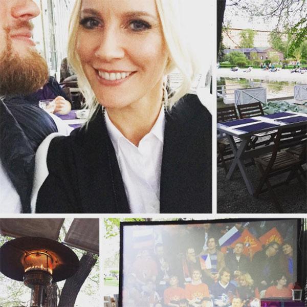 Накануне Лена Летучая с будущим мужем Юрием Анашенковым болели за наших хоккеистов