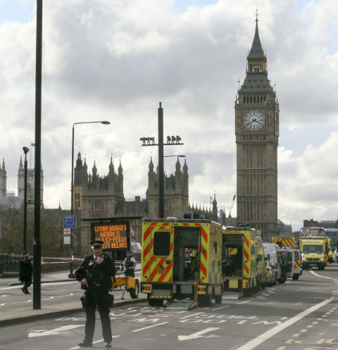 На месте трагедии у Парламента Лондона дежурят полицейские