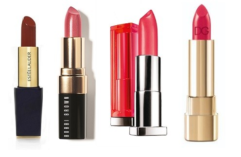 Estee Lauder Pure color Envy Decadent, Bobbi Brown Lip Color in Shimmer Finish  #1, Maybelline New York Color Sensational Vivids 910, Dolce&Gabbana Make Up Classic Cream lipstick #515
