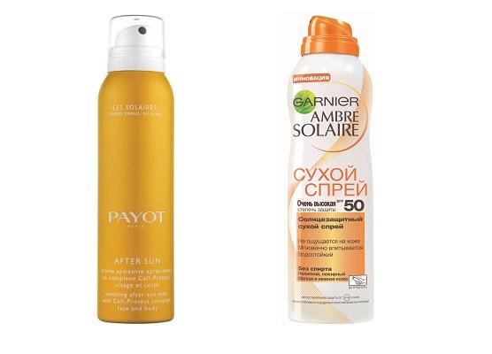 Payot Успокаивающая дымка после загара Sun Sensi, Garnier Ambre Solaire Солнцезащитный сухой спрей SPF50