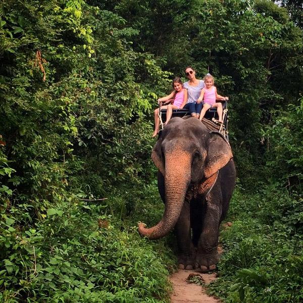 Алсу с дочерьми катается на слоне