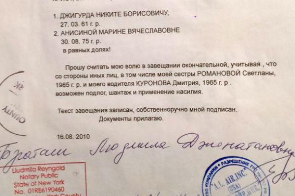 Фрагмент завещания Людмили Браташ