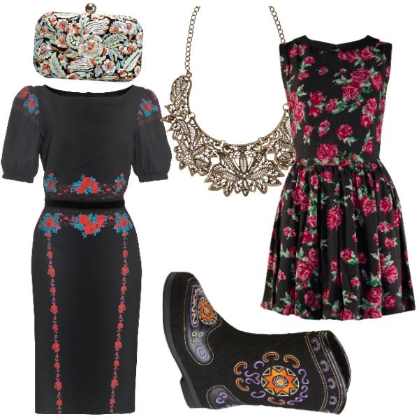 """Платье Zarina, 2890 руб. Платье Befree, 1699 руб. Клатч Zara, 2999 руб. Украшение на шею H&M, 499 руб. Валенки """"Эконика"""", 3490 руб."""