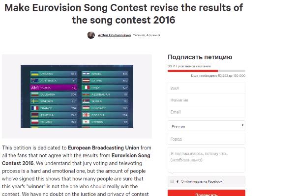 Петиция за пересмотр результатов «Евровидения»