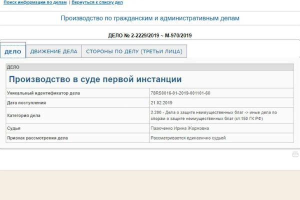 Дело рассматривается в районном суде Санкт-Петербурга