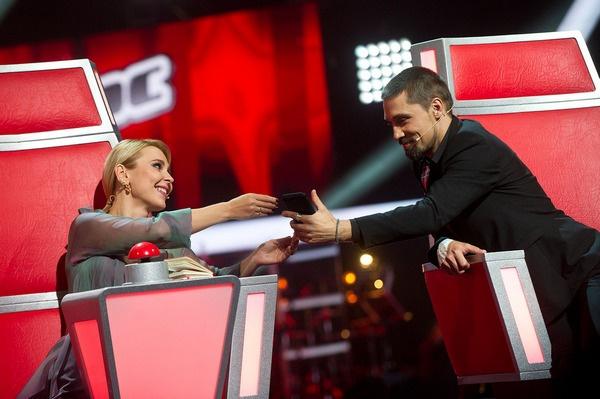 Пелагея и Дима Билан на съемках нового сезона «Голоса»