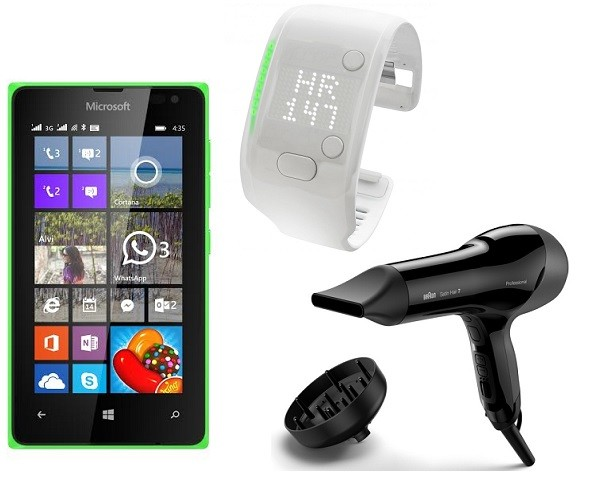 Смартфон Microsoft Lumia 435, Фен Braun Professional Sesnsodryer,Браслет Adidas miCoach Fit Smart