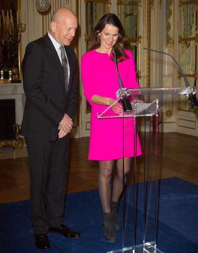 Брюс Уиллис и министр культуры Франции Орели Филиппети