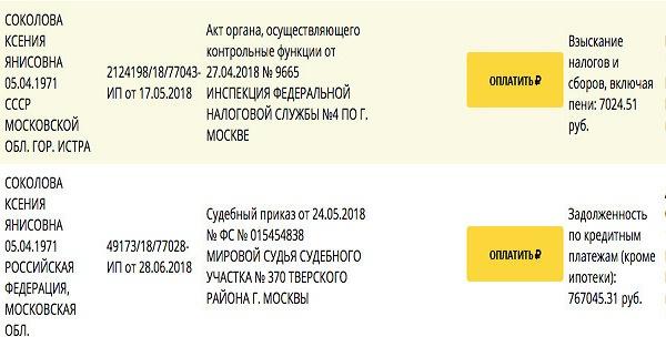 Долги Соколовой