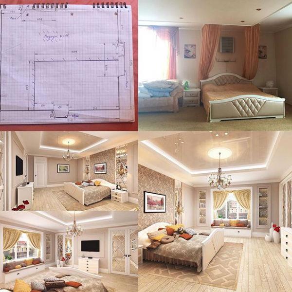 Так выглядел дизайн-проект спальни Ирины