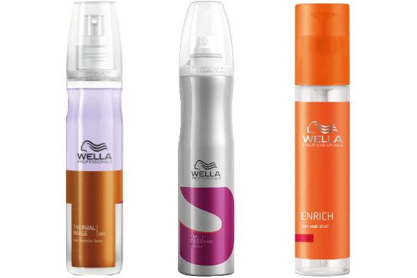 Средства для волос Wella Professionals: Термозащитный спрей Thermal Image, 310 руб. Лак средней фиксации Stay Styled, 450 руб. Эликсир для кончиков волос Enrich, 615 руб.