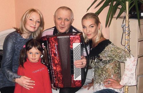 Настя с дочерью  Ариадной и мамой  Тамарой в гостях у папы  Юрия Волочкова