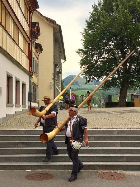 Типичные для Швейцарии музыкальные инструменты — альпхорны; ни в один футляр не положишь