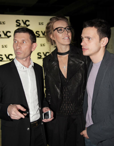 Александр Федотов, Ксения Собчак и Илья Яшин на вечеринке журнала SNC, октябрь 2012