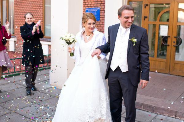 Пара поженилась в Таганском загсе