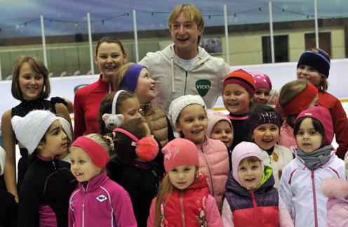 Евгений Плющенко с участниками мастер-класса