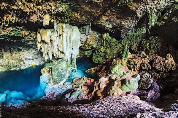 Озеро глубиной 20 метров в пещере Сатурно