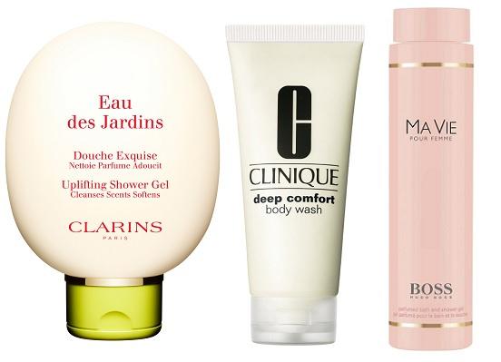 Clarins Гель для душа Eau des Jardins,Увлажняющий и смягчающий гель для душа Clinique, Hugo Boss Гель для душа Ma Vie