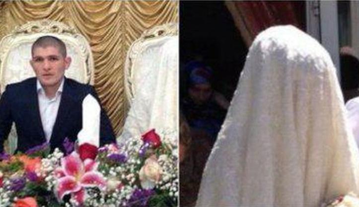 Согласно местным обычаям.  лицо невесты нельзя показывать другим