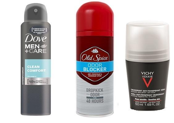 Антиперспиранты DOVE men care Clean comfort, Антиперспирант Old Spice ODOR Blocker, Антиперспирант для чувствительной кожи VICHY Homme