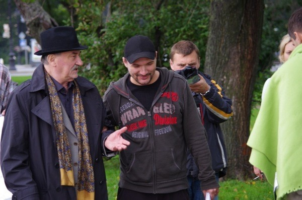 Богдан Ступка и Дмитрий Петрунь на съемках в 2011 году