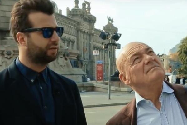 Иван Ургант и Владимир Познер на съемках в Барселоне