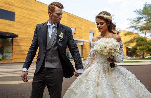 Никита Пресняков и Алена Краснова в день свадьбы