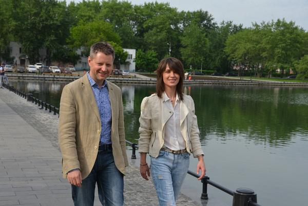 Алексей Пивоваров и Ирина Муромцева на съемках проекта «Парк культуры имени отдыха»