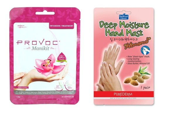 PROVOC Перчатки для бразильского маникюра, PUREDERM Botanical Choice Миндальная маска для рук