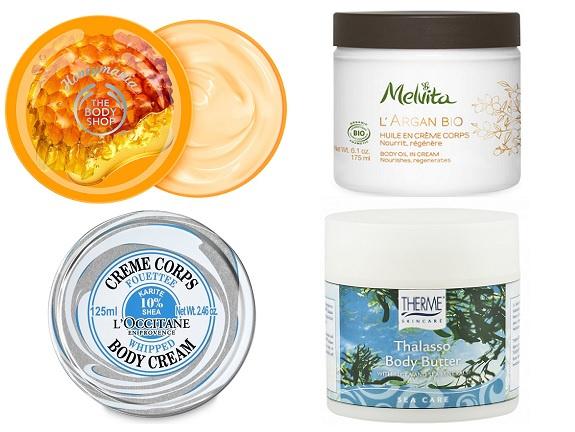 The Body Shop Питательное масло для тела, Melvita Крем-масло для тела, LOccitane Крем для тела Карите, Therme питательное масло для тела