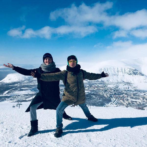 Александр Головин и Ангелина Поплавская в горах Мурманской области
