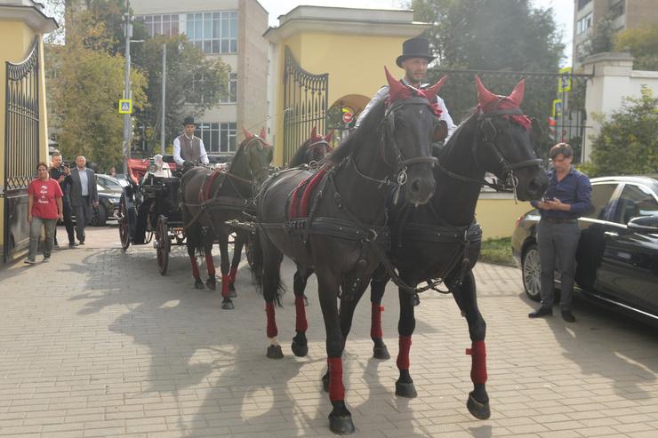 На венчание пара прибыла на карете