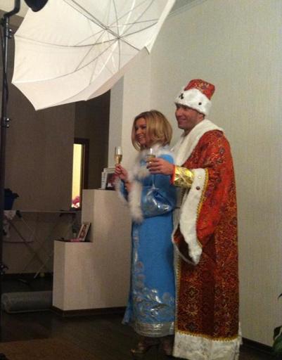 Ксения Бородина и Михаил Терехин на новогодней фотосессии