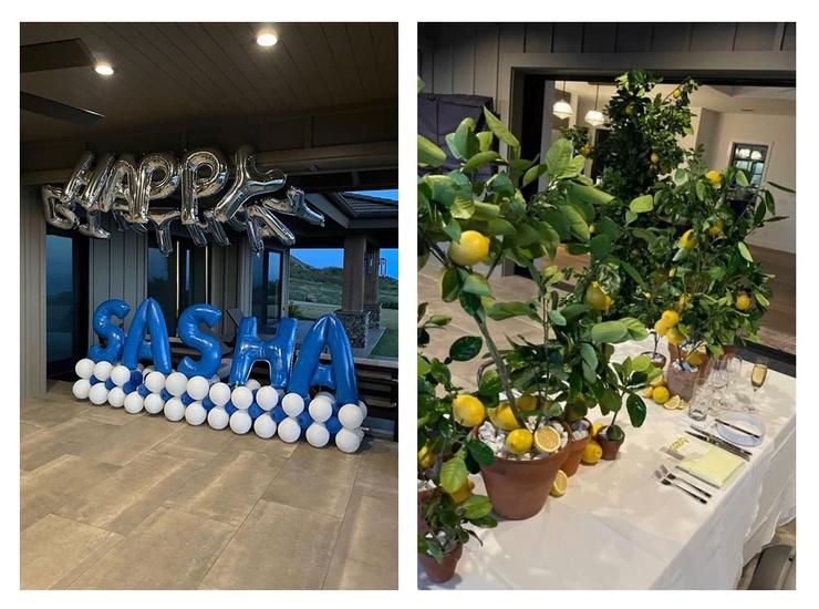 Комнату украсили шарами, а на столе поставили лимонные деревья