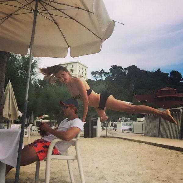 Даже за ланчем с женихом  Виктория Боня не забывает  о спорте