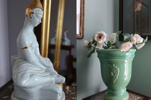 Керамические вазы и статуэтки украшают жилье Васильева