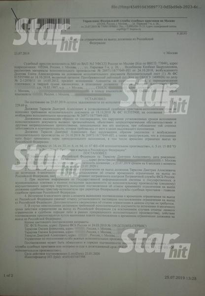 Документ о запрете на выезд