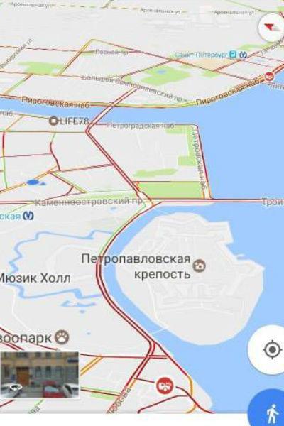 По навигатору весь город «красный»