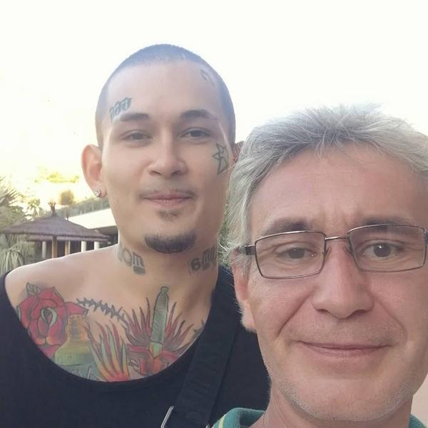 Моргештерн с отчимом